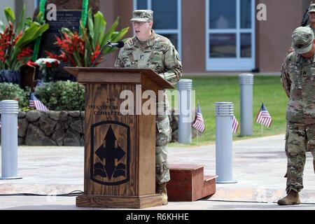 Maj. Gen. Arthur J. Logan delivers remarks during the Hawaii National Guard 50th Vietnam Memorial Ceremony at the 29th Infantry Brigade Combat Team Readiness Center in Kapolei on May 25, 2017. - Stock Photo