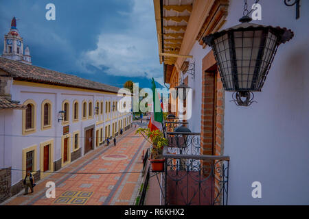 COTACACHI, ECUADOR, NOVEMBER 06, 2018: Close up of some plants in a balcony of the colonial building of the city of Cotacachi Ecuador. - Stock Photo
