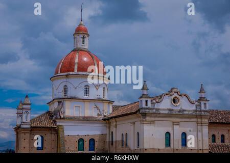 COTACACHI, ECUADOR, NOVEMBER 06, 2018: Beautiful outdoor view of Matrix Cathedral In Cotacachi Ecuador, a small village where live a lot of America re - Stock Photo