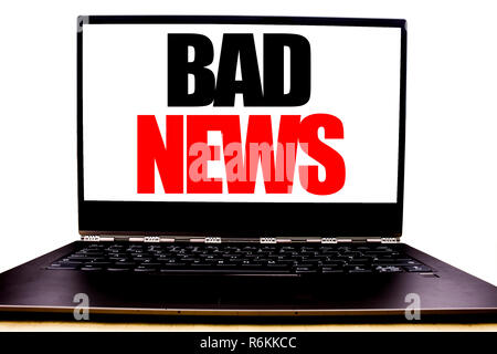 Handwritten text showing Bad News. Business concept writing for Failure Media Newspaper Written on monitor front screen, white background with space office view. - Stock Photo