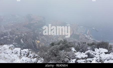 Beautiful Panoramic Aerial View of Monaco Under The Snow - Stock Photo