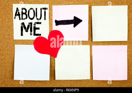Conceptual hand writing text caption inspiration showing About Me concept for Self Awareness Personal Identity and Love written on sticky note, reminder cork background with copy space - Stock Photo