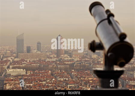 Heavy wave of atmospherical pollution hits Lyon, France - Stock Photo