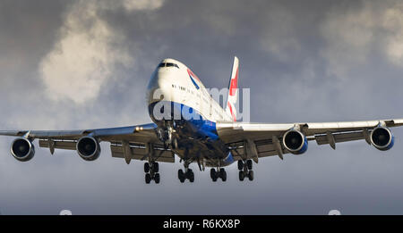 LONDON, ENGLAND - NOVEMBER 2018: British Airways Boeing 747 'Jumbo jet' on final approach to land at London Heathrow Airport. - Stock Photo