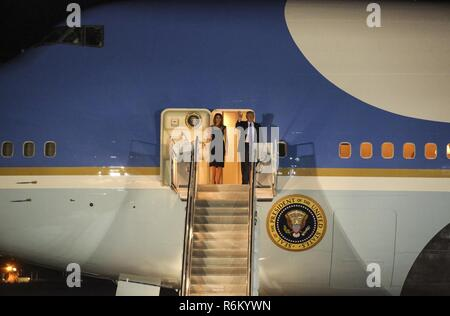 President Donald Trump and First Lady Melania Trump arrive at Naval Air Station Sigonella, Italy, May 25, 2017. Trump traveled to Sicily in order to attend the G7 summit and meet with other world leaders, to include Italian Prime Minister Paolo Gentiloni. NASSIG is a strategically located base capable of supporting an array of operations which houses sailors, airmen, soldiers and Marines with Special Purpose Marine Air-Ground Task Force – Crisis Response – Africa. - Stock Photo