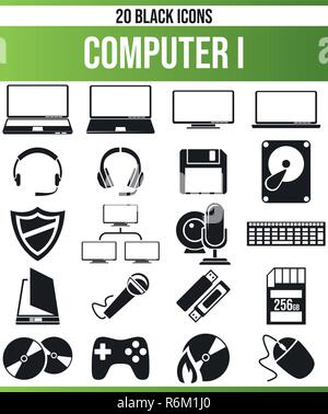 Black pictograms / icons on computer. This icon set is perfect for creative people and designers who need the subject of technology in their graphic d - Stock Photo