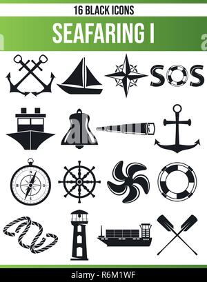 Black pictograms / icons on seafaring. This icon set is perfect for creative people and designers who need the nautical theme in their graphic designs - Stock Photo