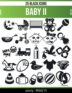Black pictograms / icons about baby. This icon set is perfect for creative people and designers who need the theme baby in her graphic design. - Stock Photo