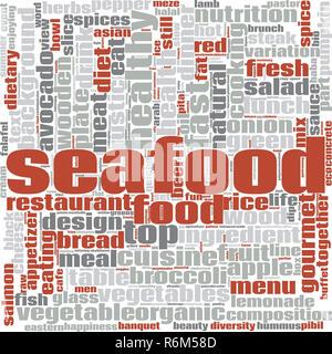 Seafood word cloud - Stock Photo