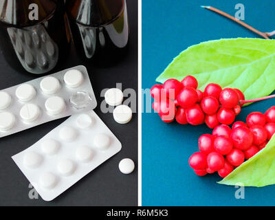 Natural vitamins or tablets. Berries of red ripe schisandra or medicinal preparations - Stock Photo