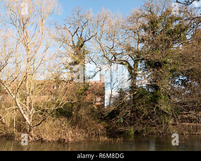flatford mill house spring from across the lake on side river stour constable country close up - Stock Photo