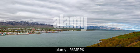Panoramic view of Akureyri, Iceland - Stock Photo