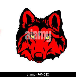 wolf illustration wildlife head red yellow - Stock Photo