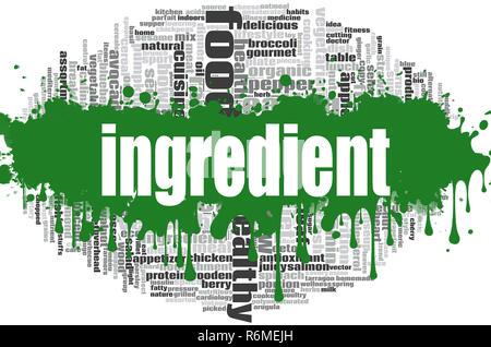 Ingredient word cloud - Stock Photo