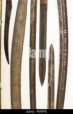 Display case with old historical swords - Stock Photo