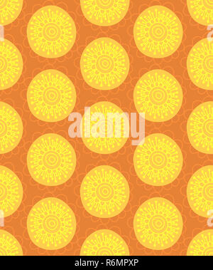 Floral seamless pattern. Hand drawn creative flower in round shape. Colorful artistic background. Abstract herb - Stock Photo