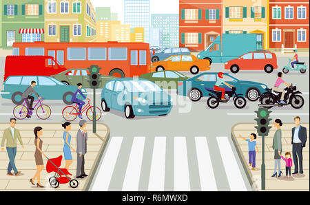 road traffic in the city,illustration - Stock Photo