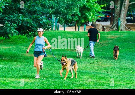 Pet owners walk their dogs at Candler Park, June 4, 2014, in Atlanta, Georgia.