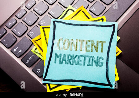 Conceptual hand writing text caption inspiration showing Content Marketing. Business concept for Online Media Plan written on sticky note paper on the dark keyboard background. - Stock Photo