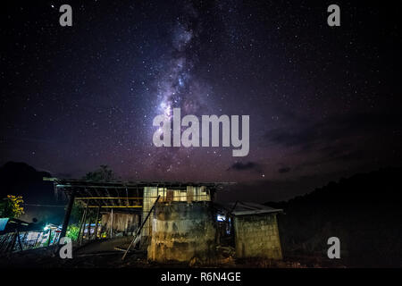 Chiang Dao, Thailand, we can see the Milky Way galaxy and stars in the evening sky. The place is famous and popular among travelers. - Stock Photo