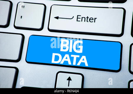Handwriting Announcement text showing Big Data. Business concept for Digital Business Analysis written on red key on the keybord background. - Stock Photo