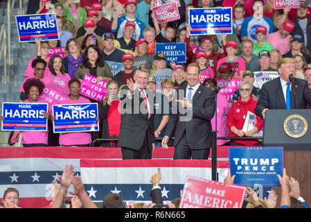 Mark Harris, Center of the GOP Election Fraud Allegations in NC, seen here with President Trump at a Recent MAGA Rally in Charlotte - Stock Photo