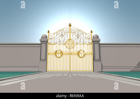 An illustrated depiction of the golden pearly gates of heaven closed shut on a blue sky background - 3D render - Stock Photo