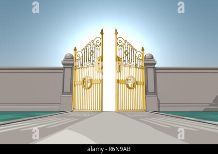 An illustrated depiction of the golden pearly gates of heaven opening on a blue sky background - 3D render - Stock Photo
