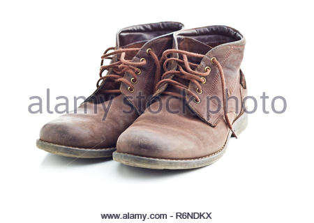 The leather boots. - Stock Photo