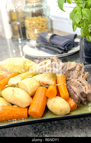 close up of french pot au feu - Stock Photo