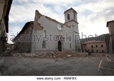 santa maria argentea, norcia historic center destroyed by the earthquake, 8-11-2016 - Stock Photo