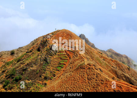 Lonely houses in the mountains of Santo Antão, Cape Verde, Cabo Verde, Africa. - Stock Photo