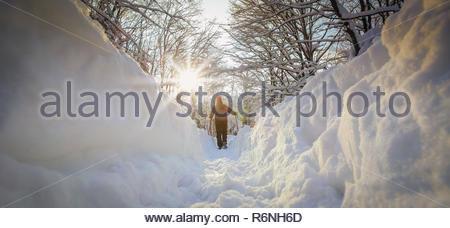 Man hiker on a snowy mountain - Stock Photo