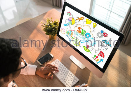 Searching Engine Optimizing SEO Browsing Concept - Stock Photo