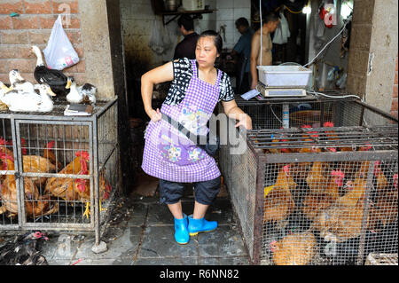 04.08.2012, Chongqing, China, Asia - A female butcher is standing in front of a butcher shop that sells poultry. - Stock Photo