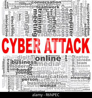 Cyber attack word cloud - Stock Photo
