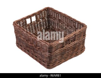 Simple basket on white - Stock Photo