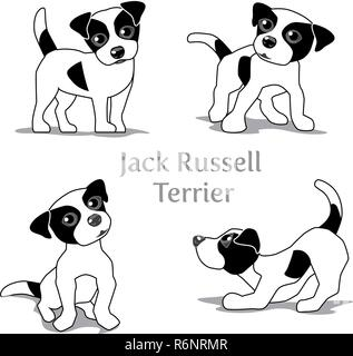Vector illustration of Jack Russell Terrier in various poses. - Stock Photo