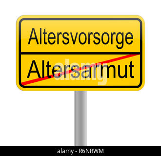 yellow Retirement Provision - Poverty among the elderly - in german - Stock Photo