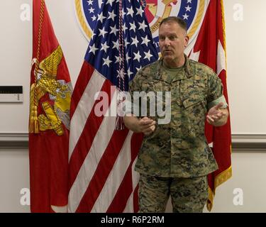 U.S. Marine Corps Maj. Gen. John Broadmeadow, commanding general, Marine Corps Installations Command gives remarks during the promotion ceremony of Capt. Troy MacDonald at the Pentagon, Arlington, Va., May 25, 2017. MacDonald was promoted to the rank of major. - Stock Photo