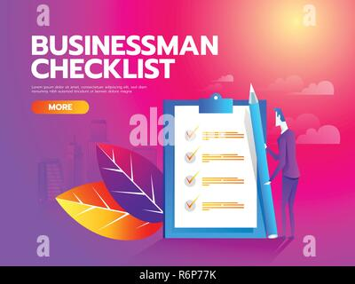 Businessman checklist on the clipboard. Concept business illustration. Vector - Stock Photo