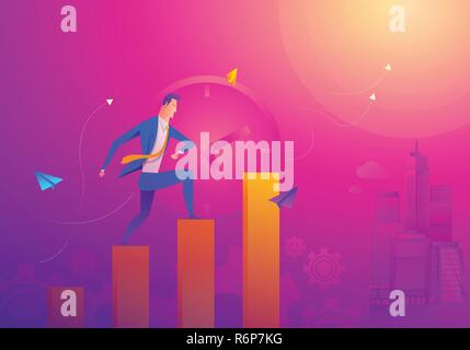 Business Concept As A Businessman Is Running On Growth Line Graph. He Is Enjoying The New Growth Of Opportunity With Full Motivation and Encouragement. Higher Sales Corresponds With Time Passes By - Stock Photo