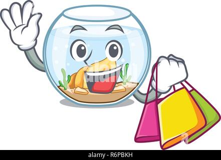 Shopping fishbowl in glass sphere on mascot - Stock Photo