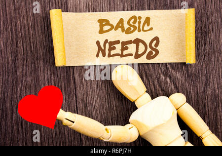 Text sign showing Basic Needs. Conceptual photo Health In Developing Countries Essential Food Lack written on Sticky Note Love Heart Holding By Sculpture on the wooden background. - Stock Photo