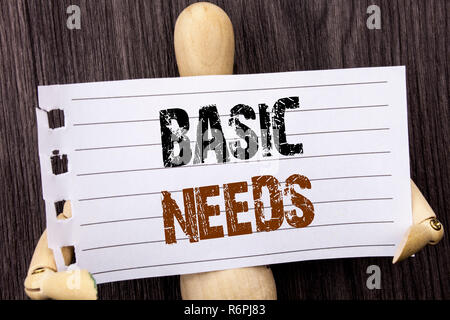Word, writing, text  Basic Needs. Conceptual photo Health In Developing Countries Essential Food Lack written on torn paper holding by sculptureon the wooden background - Stock Photo