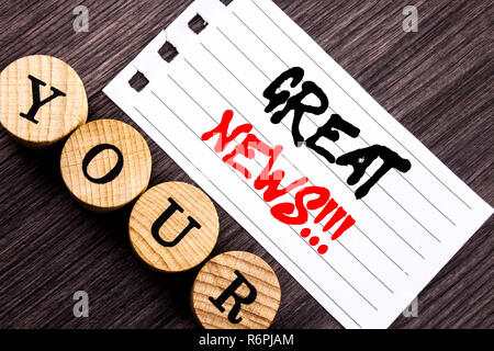 Writing text showing  Great News. Business photo showcasing Success Newspaper Information Celebration written on tear note paper sticky note on the wooden background. - Stock Photo