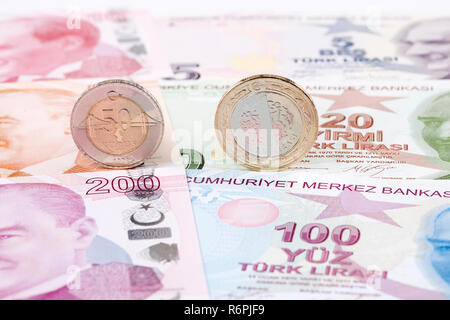 Turkish lira coins on the background of banknotes - Stock Photo
