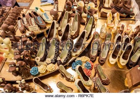 Turin, Italy. 2nd December, 2018. Chocolate shoes. © Simone Migliaro / Awakening - Stock Photo