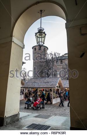 Turin, Italy. 2nd December, 2018. Christmas market and Palazzo Madama viewed from the portico. © Simone Migliaro / Awakening - Stock Photo