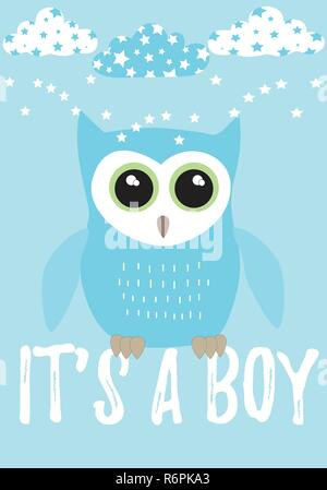 Owl It's a boy card in pastel blue with black,white and green colors palette vector illustration template on a blue background with clouds and star - Stock Photo